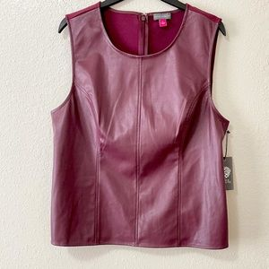 NWT! Vince Camuto Faux Leather Maroon Top!